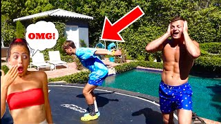 MY SISTER RATES OUR TRAMPOLINE FLIPS! *First to 50 wins!*