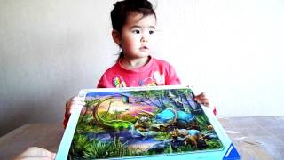 Складываем пазл Динозавры на рассвете.Ravensburger Puzzles
