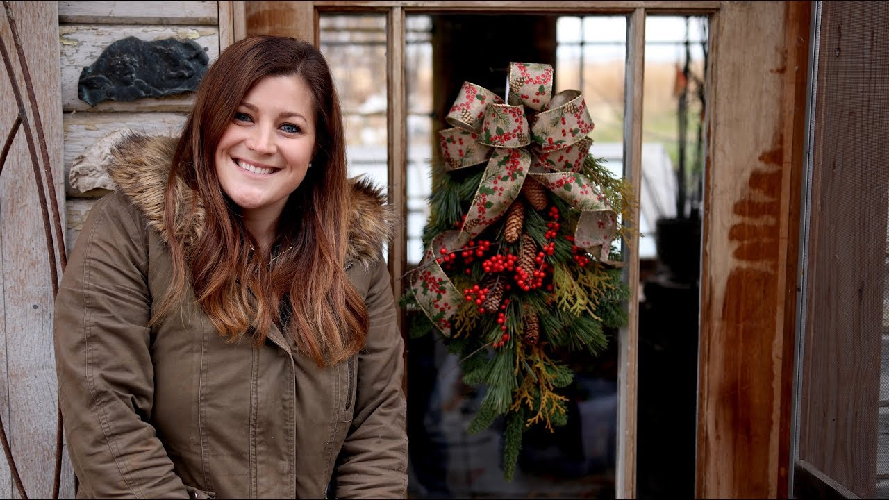 Diy Christmas Door Swag Garden Answer Youtube