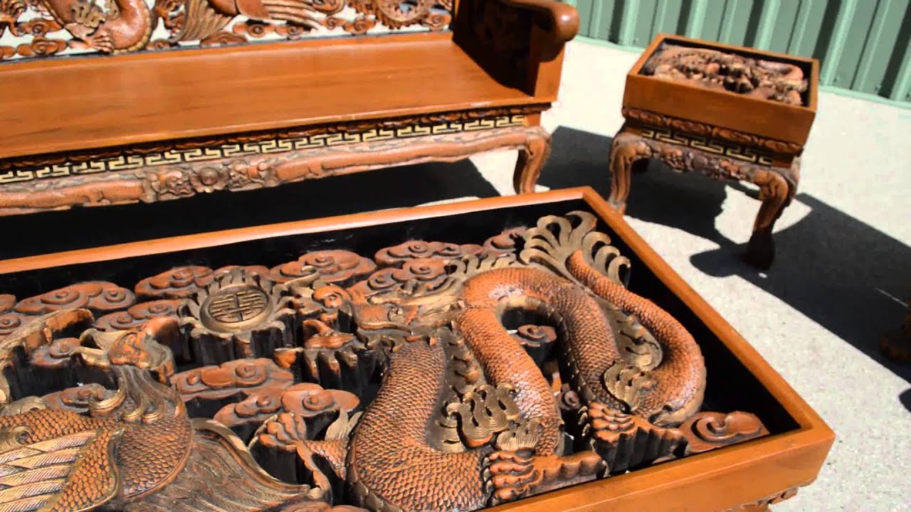 Chinese carved dragon and phoenix furniture set youtube for Oriental wood carved furniture