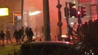 Olympiakos hooligans attacked Panathinaikos Pub with Molotov cocktail