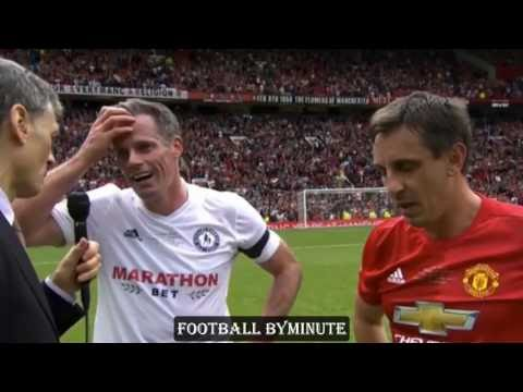 Jamie Carragher's reaction at getting BOOED by Manchester United Fans ( Michael Carrick Testimonial