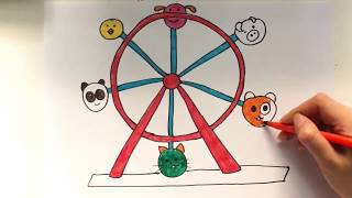 How to draw Ferris wheel (Animals Swing) so cute for kids!