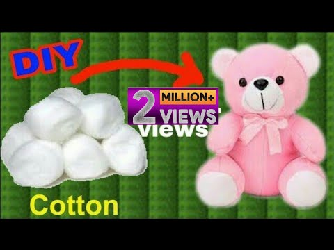 How To Make Teddy Bear With Cotton At Home In Hindi   Gk Craft