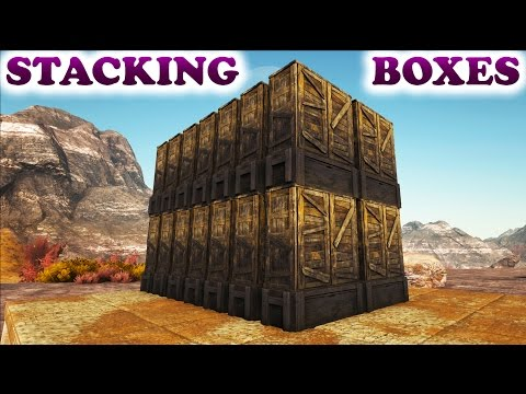 ARK HOW TO STACK LARGE STORAGE BOXES (Ark Survival Evolved Building Tips and Tricks)
