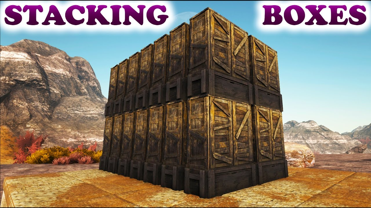 Nice ARK HOW TO STACK LARGE STORAGE BOXES (Ark Survival Evolved Building Tips  And Tricks)   YouTube
