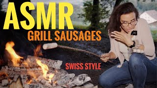 ASMR Gina Carla 😋 Grilling Sausages on a Camping Fire in the Woods of Switzerland 🇨🇭