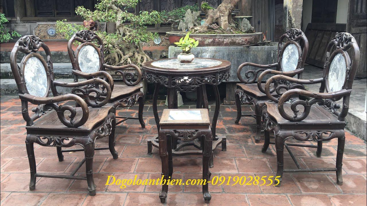 Bộ bàn ghế cổ – Bộ ghế trúc đơn – Đồ Gỗ Loan Thiện