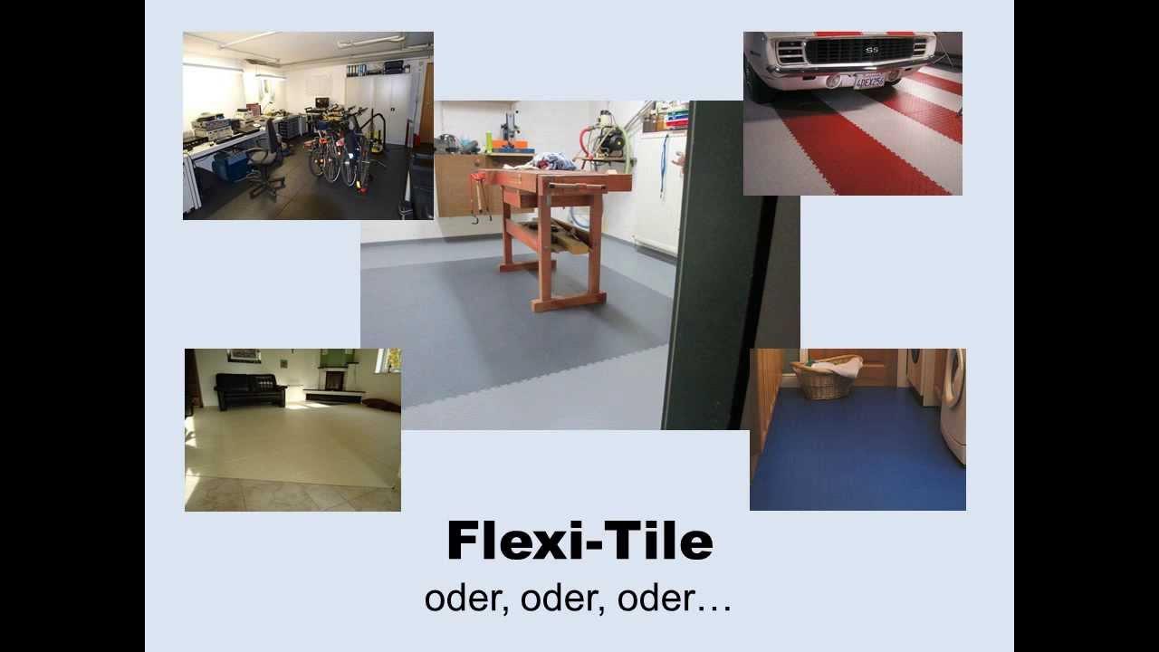 video flexi tile pvc bodenbelag f r haus und garage. Black Bedroom Furniture Sets. Home Design Ideas