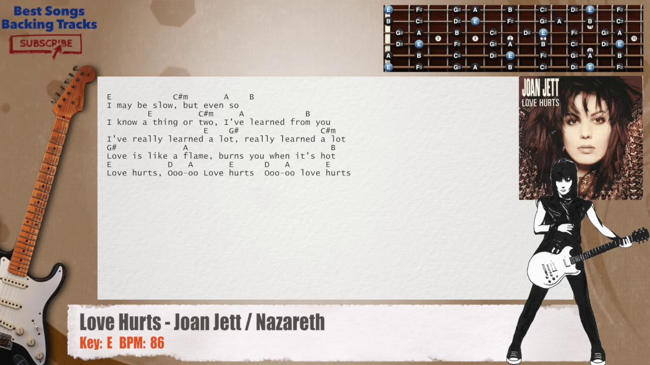 Love Hurts Joan Jett Nazareth Guitar Backing Track With Chords