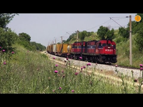MLW and ADtranz on freight trains at central Macedonia, May 2015.