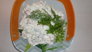 Новогодний салат оливье 'нежный' без горошка