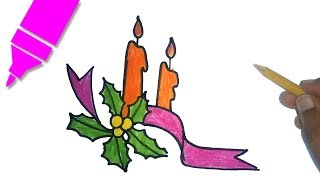 How to draw a Christmas Candle | Christmas Candle - drawing | Christmas Special Drawing
