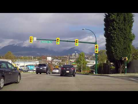 Burnaby BC Canada - Driving on Boundary to Industrial Area - Sightseeing Drive in City