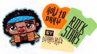 How To Draw Cute Jimi Hendrix - Easy Drawings by Garbi KW