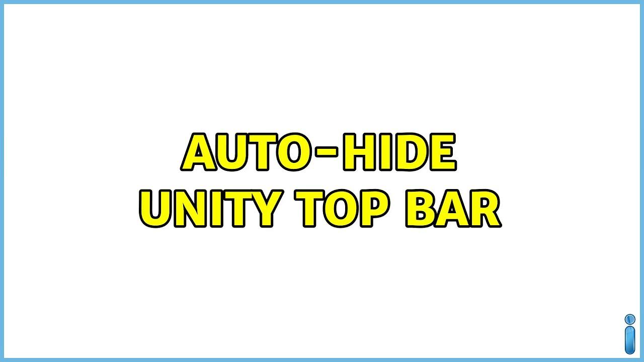 Ubuntu: Auto-hide Unity Top Bar - YouTube