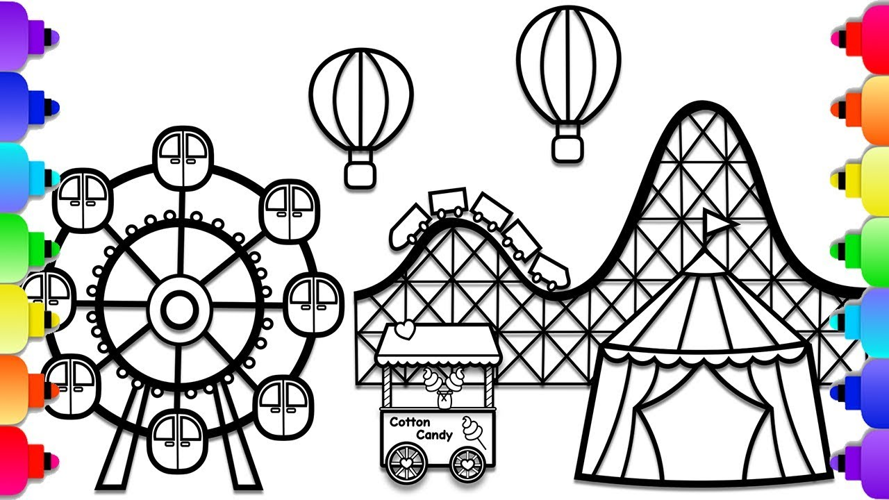 Learn How to Draw an Amusement Park Step by Step ...