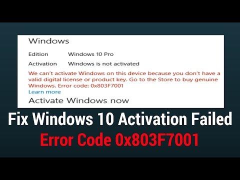 Fix Windows 10 Activation Failed Error Code 0x803F7001