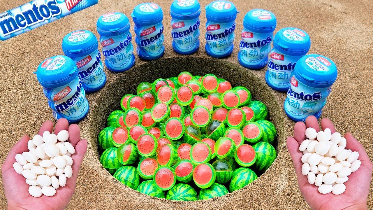 Watermelon vs Coca Cola Light, Fanta, Pepsi, Sprite, Mirinda, Soda and Mentos Underground | Among Us