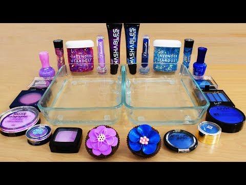 Lavender Vs Blue - Mixing Makeup Eyeshadow Into Slime! Special Series 106 Satisfying Slime Video