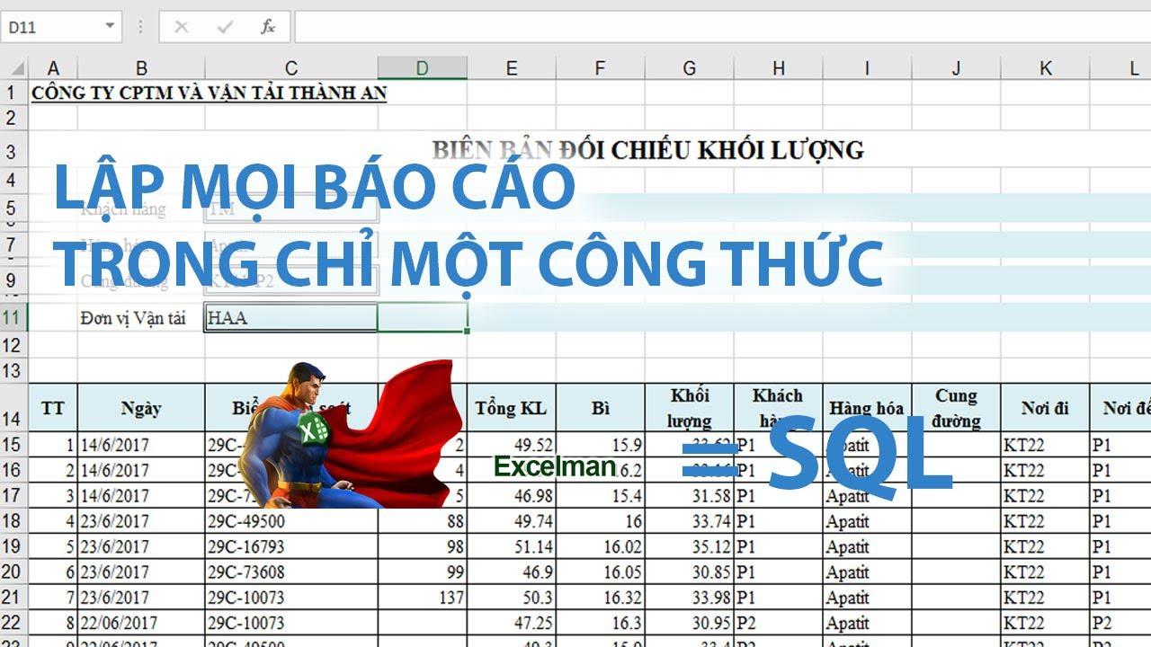 Học SQL trên Excel: Vì sao File Excel nặng và chạy chậm khắc phục bằng câu lệnh SQL