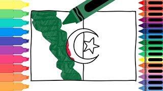 How to Draw Algeria Flag - Drawing the Algerian Flag - Coloring Pages for Kids | Tanimated Toys