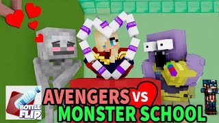 Monster School : AVENGERS FUNNY BOTTLE FLIP CHALLENGE (HEROBRINE VS THANOS) -Minecraft Animation