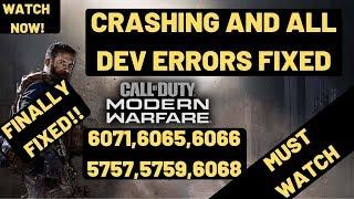 Crashing And Dev Errors FIXED Call Of Duty Modern Warfare|Dev error 6065,6068,6071,5757,5759 FIXED