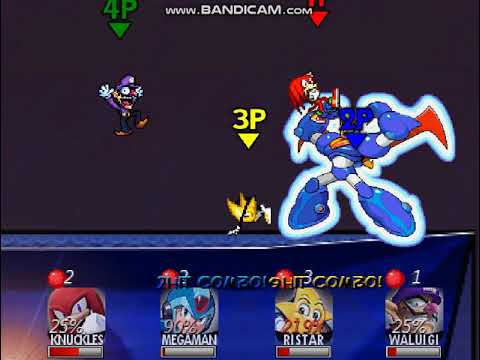 SUPER SMASH BROS CRUSADE 0 2: Knuckles Vs Megaman X Vs Ristar Vs Waluigi