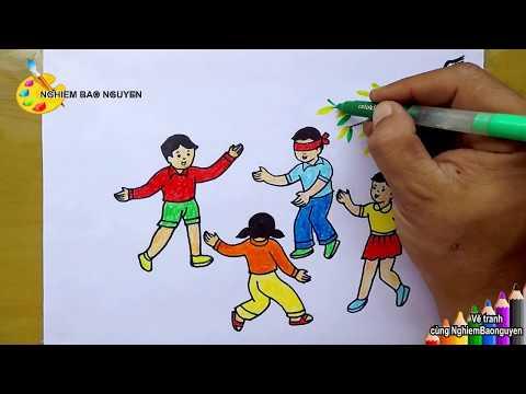 vẽ tranh đề tài trò chơi dân gian - Vẽ tranh trò chơi dân gian: Bịt mắt bắt dê