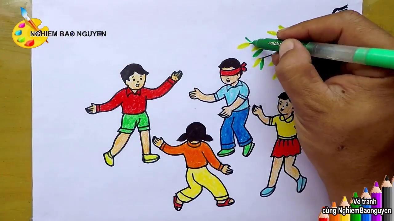 Vẽ tranh trò chơi dân gian: Bịt mắt bắt dê