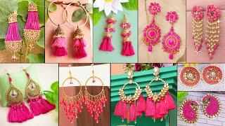 Hot Pink!!! Girls Fashion! Daily Wear Looking Beautiful - 12 DIY Earrings
