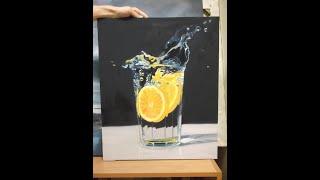 Уроки живописи мастер класс масло «Стаканчик с лимоном» 1-часть, гиперреализм.
