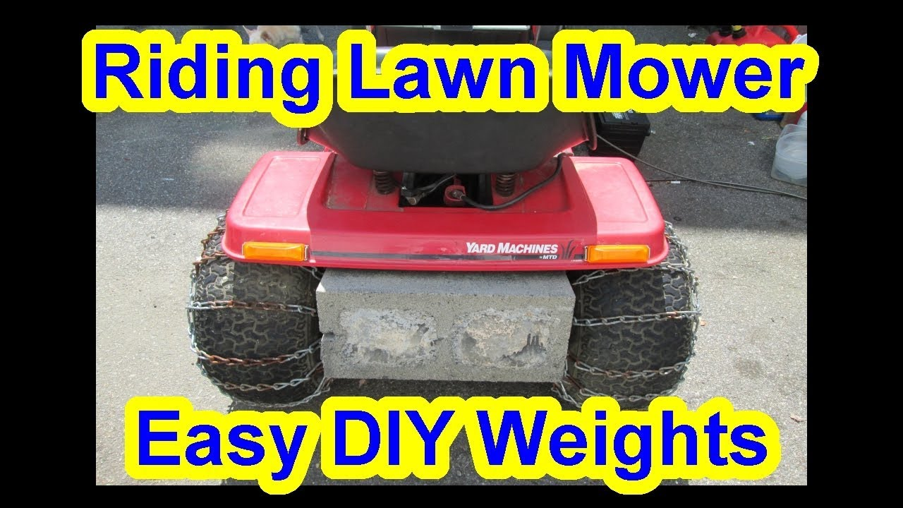 cheap easy diy my $5 bucks lawn tractor wheel weight stability + traction  snow attachment blower