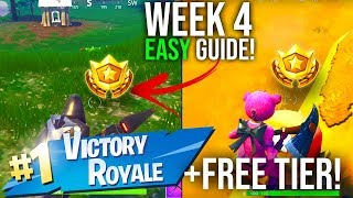 Fortnite Battle Pass WEEK 4 CHALLENGES EASY GUIDE + FREE TIER!