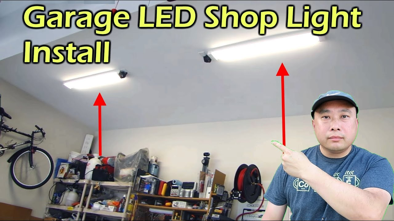 Garage led shop light fixture replaces fluorescent youtube arubaitofo Images