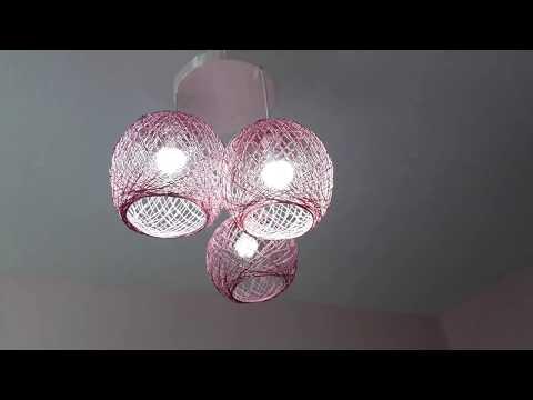 Balon Ve İpten Şık Avize Yapımı, Balondan Abajur Yapımı, How To Make A Homemade Wrapped Balloon Lamp
