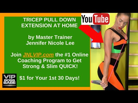 """TRICEP PULL-DOWN EXTENSION """"MACHINE"""" at HOME? YES! Jennifer Nicole Lee Shows You How! JNLVIP.com"""