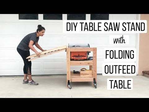 DIY Table Saw Stand With folding Outfeed Table- Anika's DIY Life