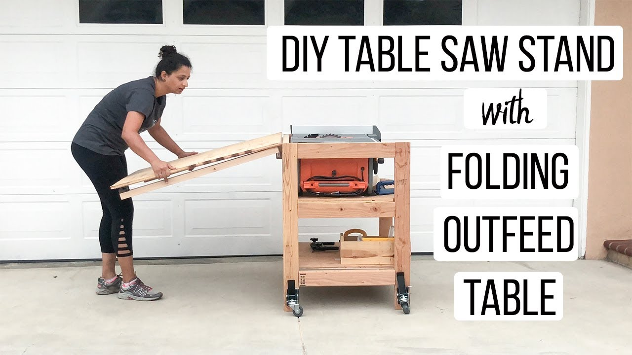 - DIY Table Saw Stand With Folding Outfeed Table- Anika's DIY Life