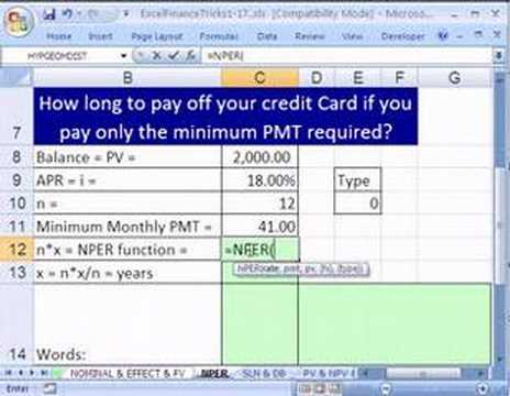 Excel Finance Trick 11 How Long Pay Off Credit Card Balance - YouTube