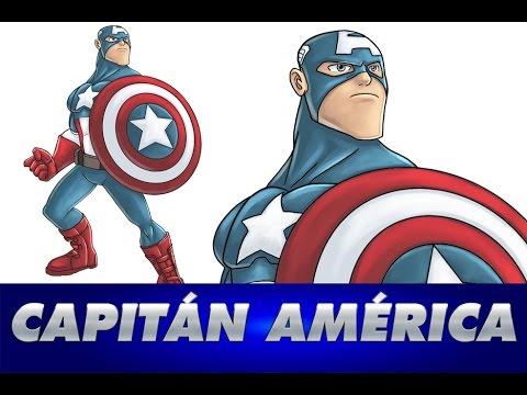 Como dibujar a CAPITAN AMERICA  How to draw CAPTAIN AMERICA