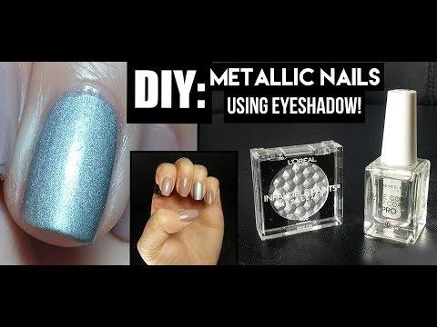 DIY METALLIC NAILS USING EYESHADOW!