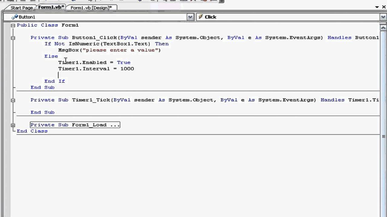 Visual Basic Express 2008/2010 Basic Timer Tutorial