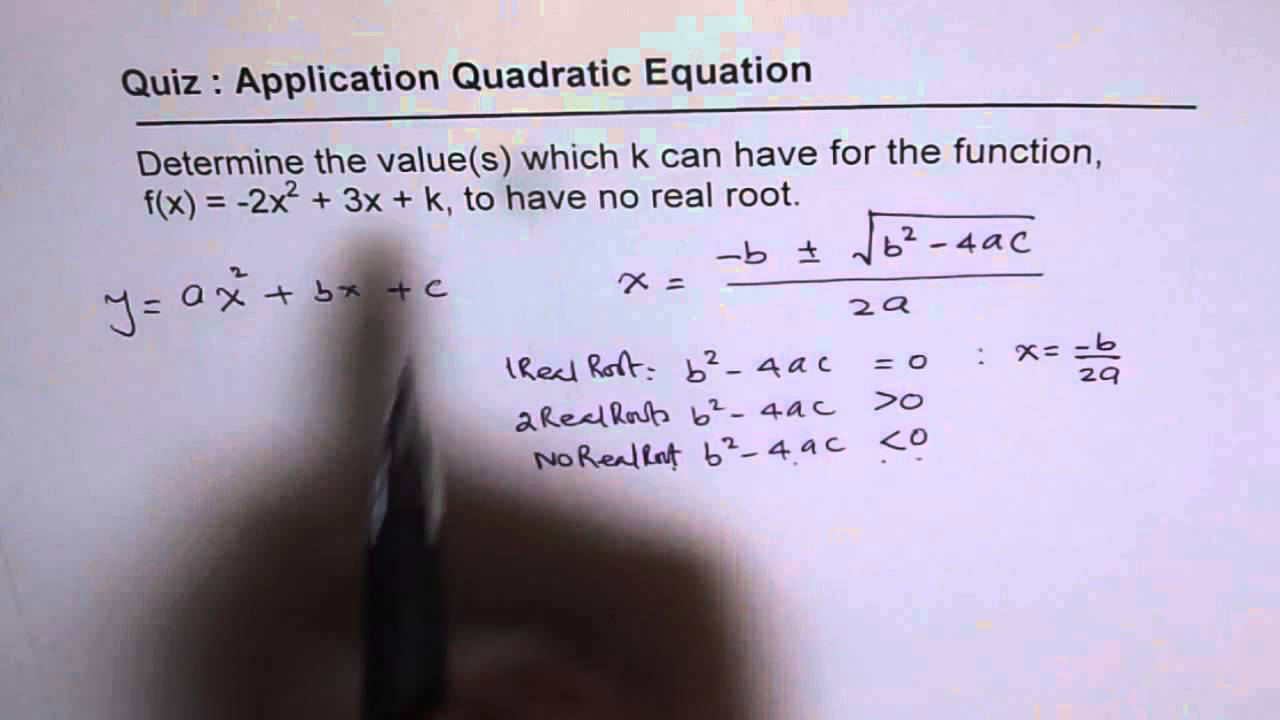Q14 Find K for No Real Root of Quadratic Function