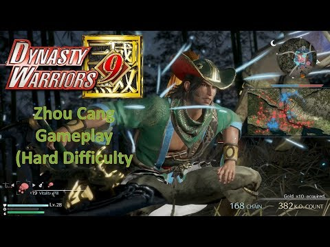 Dynasty Warriors 9 - Zhou Cang Gameplay (Hard Difficulty)