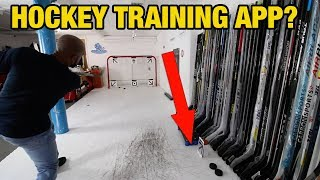 Shooting pucks in our HQ with a hockey training app