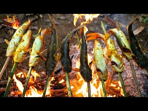 Cooking Fish Over A Fire | Grill Hemibagrus Spilopterus At Outdoor