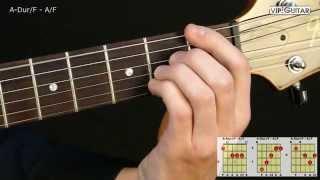 gitarrenakkorde: a-dur/f - a/f chord