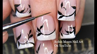 Black and White French Filigree for Beginners Nail Art